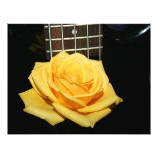 yellow rose five string bass music design photo letterhead template