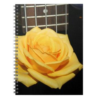 yellow rose five string bass music design photo notebook