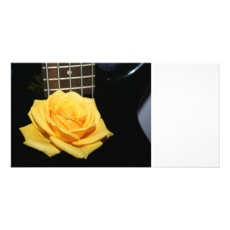 yellow rose five string bass music design photo custom photo card