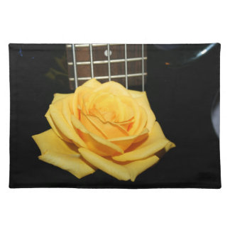 yellow rose five string bass music design photo cloth placemat