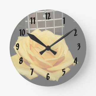 yellow rose five string bass music design photo round clock