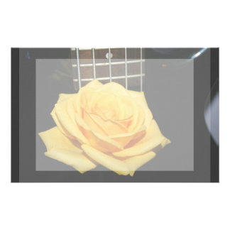 yellow rose five string bass music design photo stationery