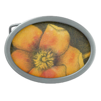 """""""Yellow Rose"""" Floral Belt Buckle"""