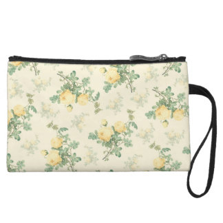 Yellow rose floral clutch bag wristlet