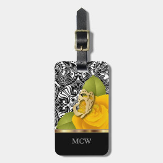 Yellow Rose Floral Design | Monogram Bag Tag