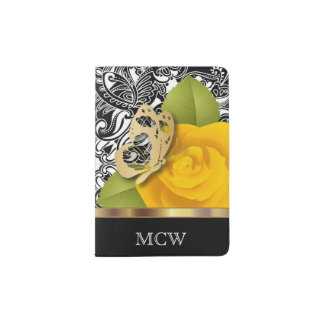 Yellow Rose Floral Design | Monogram Passport Holder