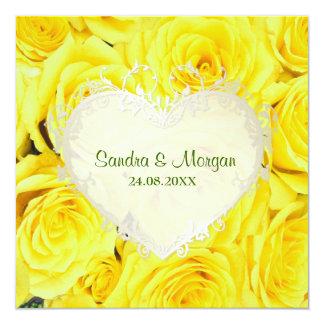 Yellow  Rose Floral Wedding Invitation