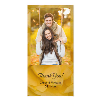 Yellow Rose Floral Wedding Thank You Card