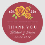 Yellow Rose Floral Wedding Thank You Sticker