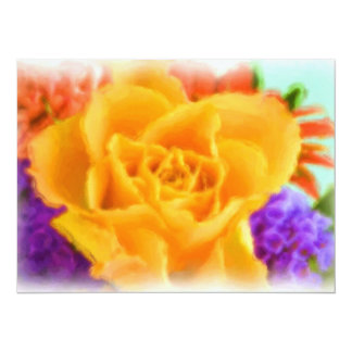 Yellow Rose Flower Bouquet Painting Bridal Shower 5.5x7.5 Paper Invitation Card