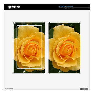 Yellow rose flower in bloom in garden 2 decals for kindle fire