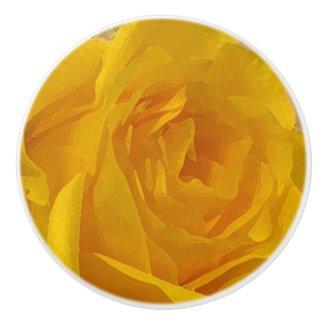 Yellow Rose Flower Petals Ceramic Knob