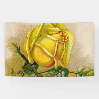 Yellow Rose Flower Vintage Illustration Banner