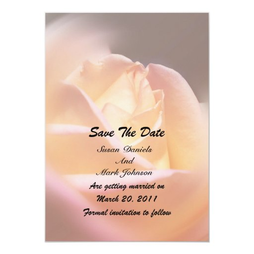 Yellow Rose Flower Wedding Save The Date Card
