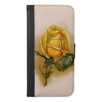 yellow rose flowers vintage iPhone 6/6s plus wallet case