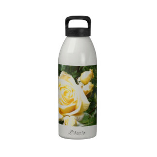 Yellow Rose Flowers Water Bottle