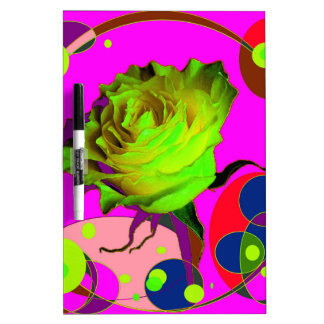 Yellow rose Fuchsia Champagne Bubbles Gifts by Sha Dry-Erase Board