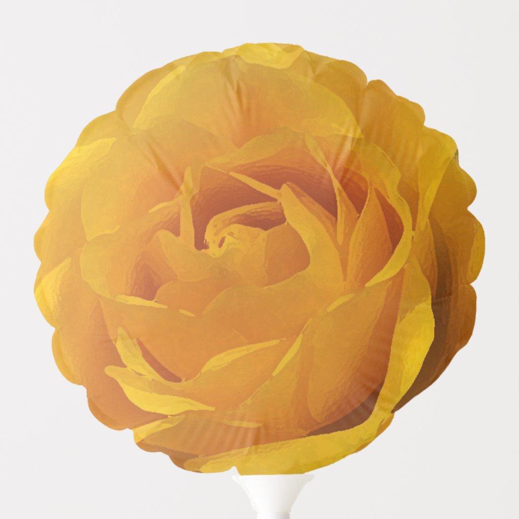 Yellow Rose Garden Flower Floral Balloon
