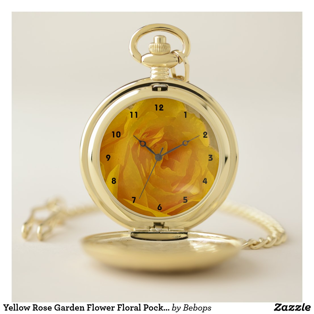 Yellow Rose Garden Flower Floral Pocket Watch