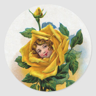 Yellow Rose Girl Vintage Greeting Classic Round Sticker