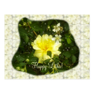 Yellow Rose in Brambles Summer Solstice Litha Postcard