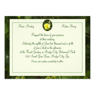 Yellow Rose in Brambles Wedding Floral Botanical 5.5x7.5 Paper Invitation Card