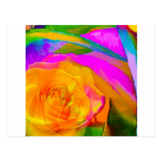 Yellow rose inside other rose postcard