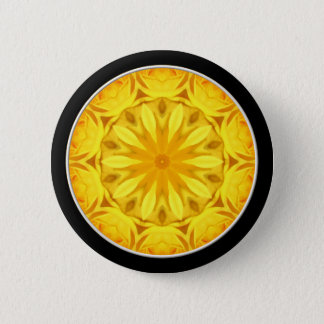 Yellow Rose Kaleidoscope (#1) Pinback Button