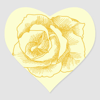 Yellow Rose Line Drawing Heart Sticker