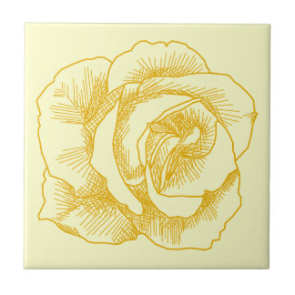 Yellow Rose Line Drawing Tile