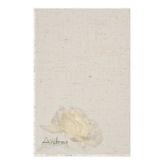Yellow Rose Linen Look Stationery