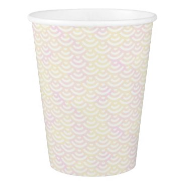 Beach Themed Yellow Rose Mermaid Pastel Pattern Paper Cup