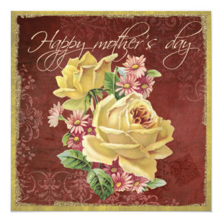 "Yellow rose mother's day card 5.25"" square invitation card"