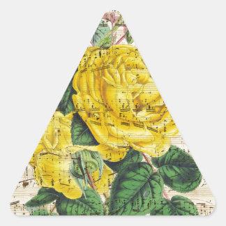Yellow Rose Music Triangle Sticker