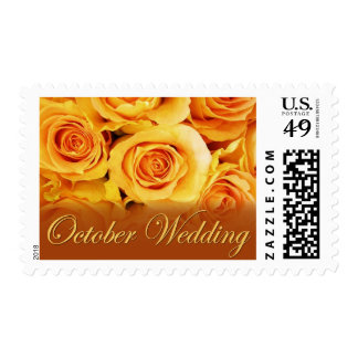 Yellow Rose October Wedding Stamps