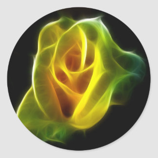 Yellow Rose of flames Round Sticker