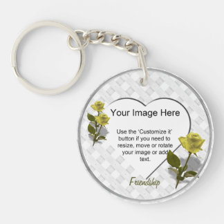 Yellow Rose of Friendship - Heart Photo Template Keychain