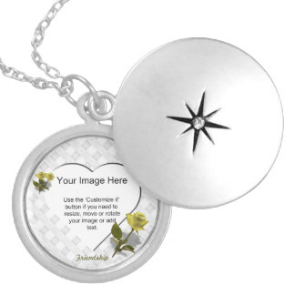 Yellow Rose of Friendship - Heart Photo Template Locket Necklace