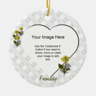 Yellow Rose of Friendship - Heart Photo Template Christmas Tree Ornament