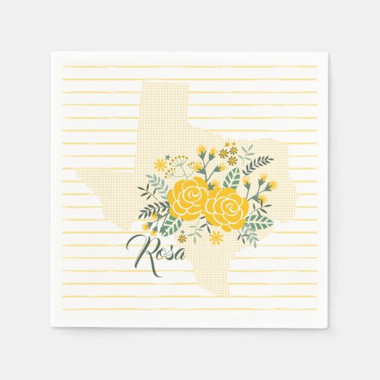 Yellow Rose Of Texas Gingham State With Roses Napkin Zazzle