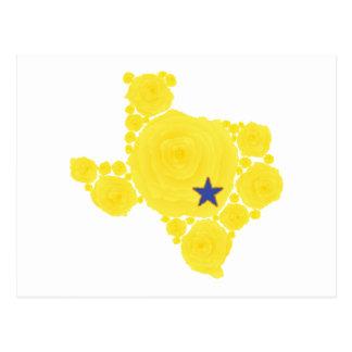 Yellow Rose of TX blue star Postcard