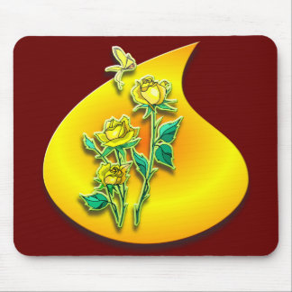 Yellow Rose on a Golden Raindrop Mouse Pad