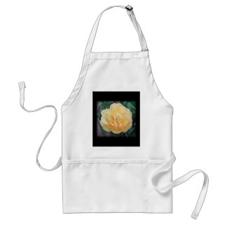 Yellow Rose, on black background. Adult Apron