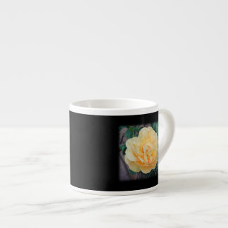 Yellow Rose, on black background. Espresso Cup