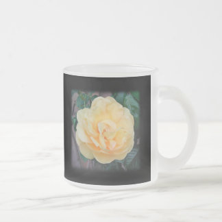 Yellow Rose, on black background. Frosted Glass Coffee Mug