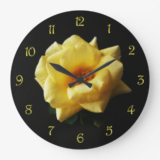 Yellow Rose On Black Yellow Script Numbers WC Large Clock