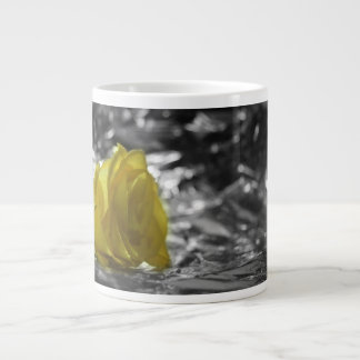 Yellow Rose On Left Side Silver Background Giant Coffee Mug