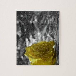 Yellow Rose On Left Side Silver Background Jigsaw Puzzle
