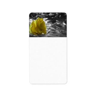 Yellow Rose On Left Side Silver Background Address Label