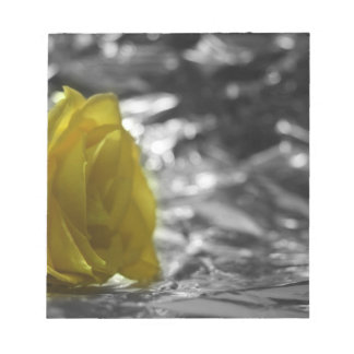 Yellow Rose On Left Side Silver Background Memo Pads